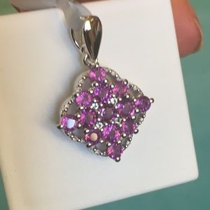 Jewelry - Unusual Pinkish Purplish Garnet 925 Silver Pendant